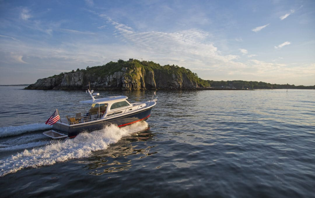 Back Cove Downeast 37 running in Portland, Maine.