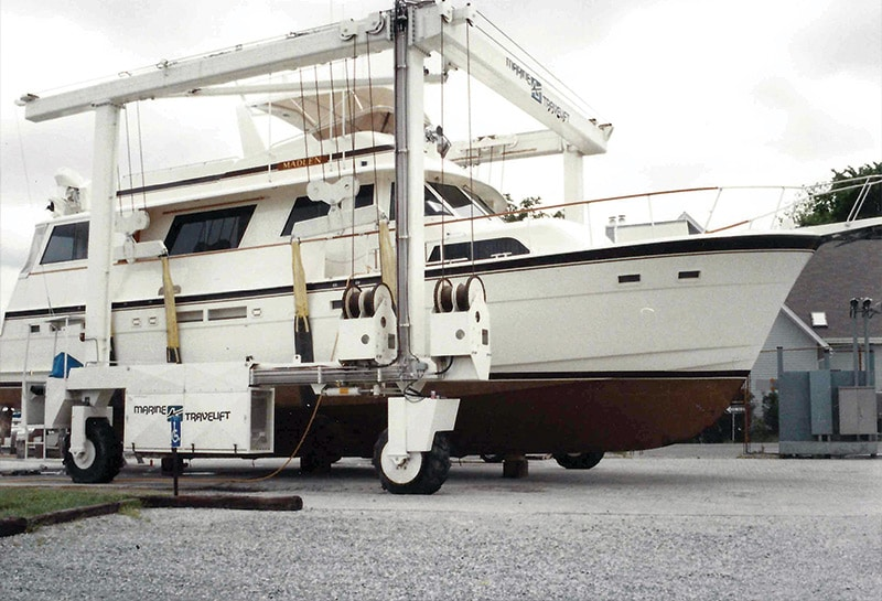 Hatteras MY in for service
